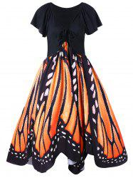 Plus Size Low Cut Butterfly Print Swing Dress -