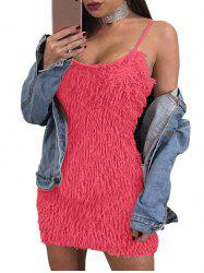 Fuzzy Spaghetti Strap Mini Dress -