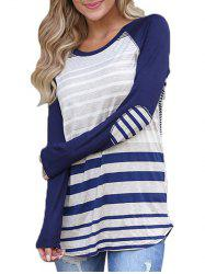 Raglan Sleeve Stripe T-shirt with Elbow Patches -