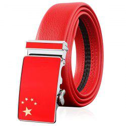 Flag of China Embellished Automatic Buckle Faux Leather Wide Belt -