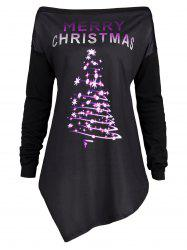 merry christmas plus size irregular tunic t shirt