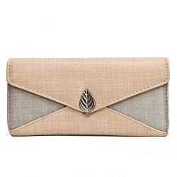 Metal Leaf Contrasting Color  Wallet With Chain -