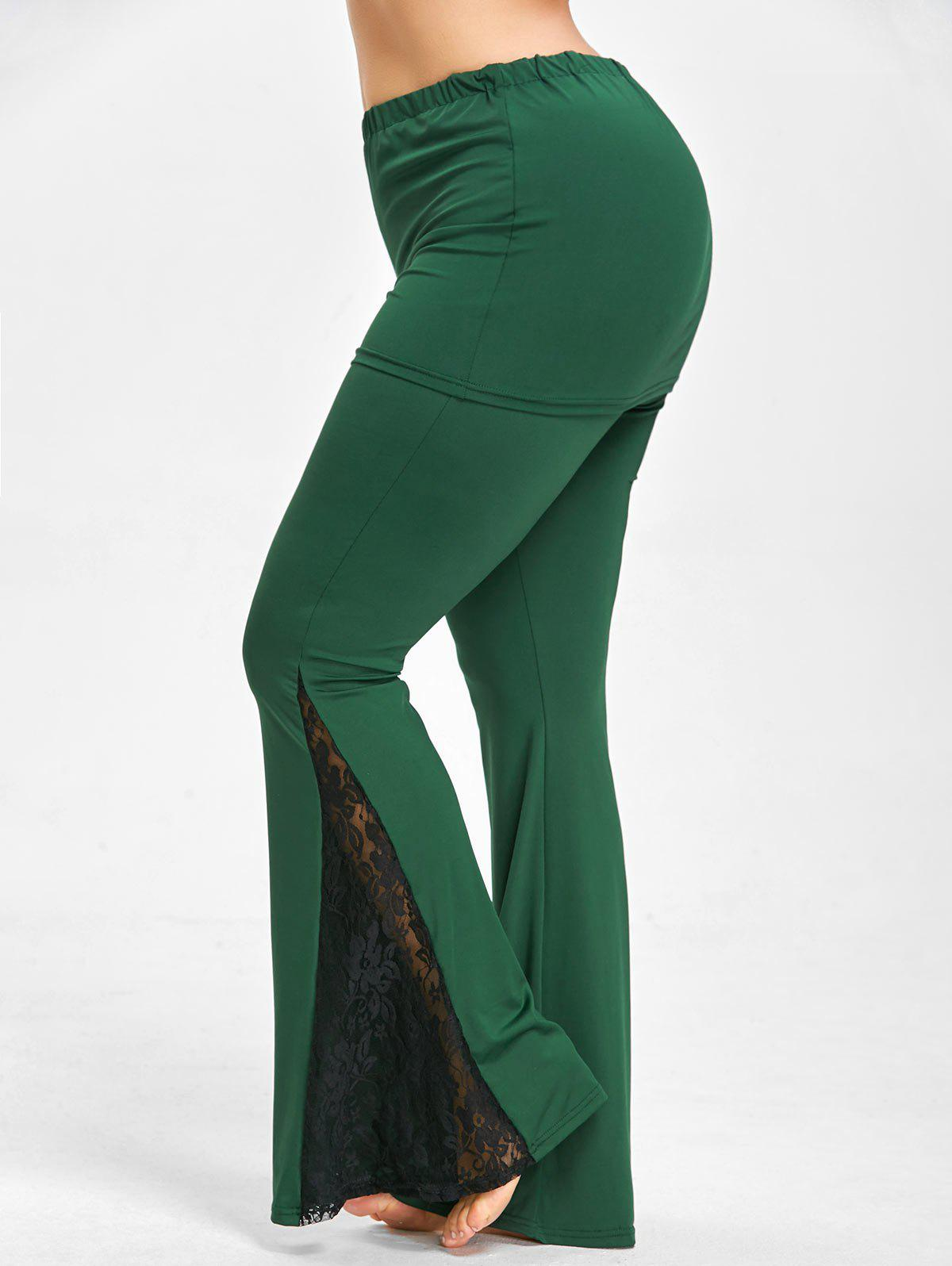 Lace Trim Plus Size Flare PantsWOMEN<br><br>Size: 4XL; Color: BLACKISH GREEN; Style: Fashion; Length: Overlength; Material: Polyester,Spandex; Fit Type: Regular; Waist Type: Mid; Closure Type: Drawstring; Pattern Type: Others; Embellishment: Lace; Pant Style: Flare Pants; Weight: 0.4400kg; Package Contents: 1 x Pants;