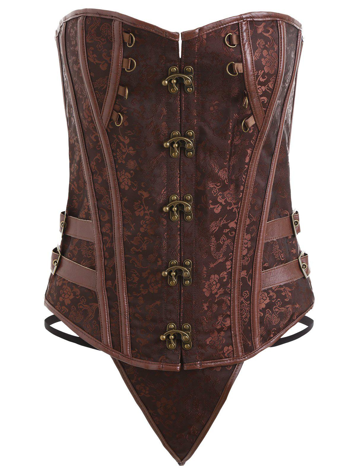 Vintage Plus Size Lace-up Underbust CorsetWOMEN<br><br>Size: 6XL; Color: BROWN; Material: Polyester,Spandex; Pattern Type: Floral; Embellishment: Criss-Cross; Weight: 0.3100kg; Package Contents: 1 x Corset  1 x T Back;