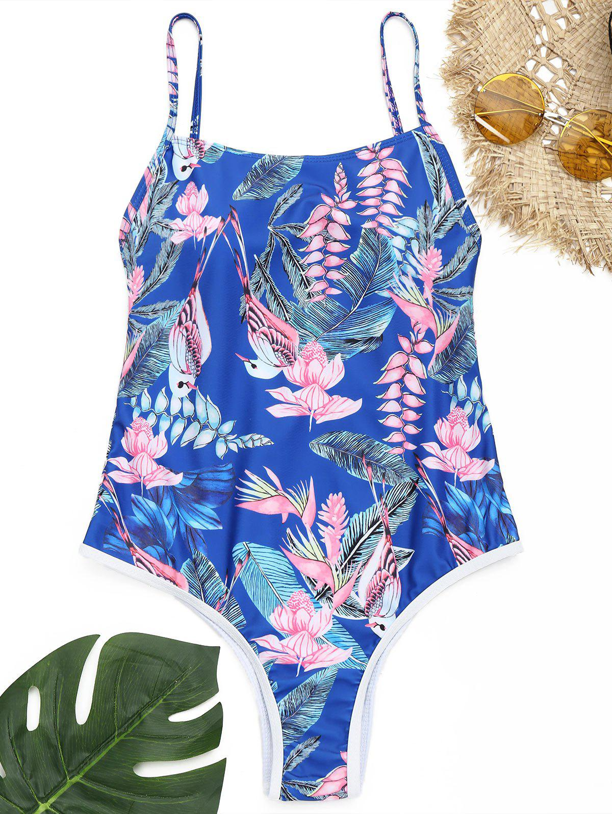 Discount Flower Print One Piece Swimsuit