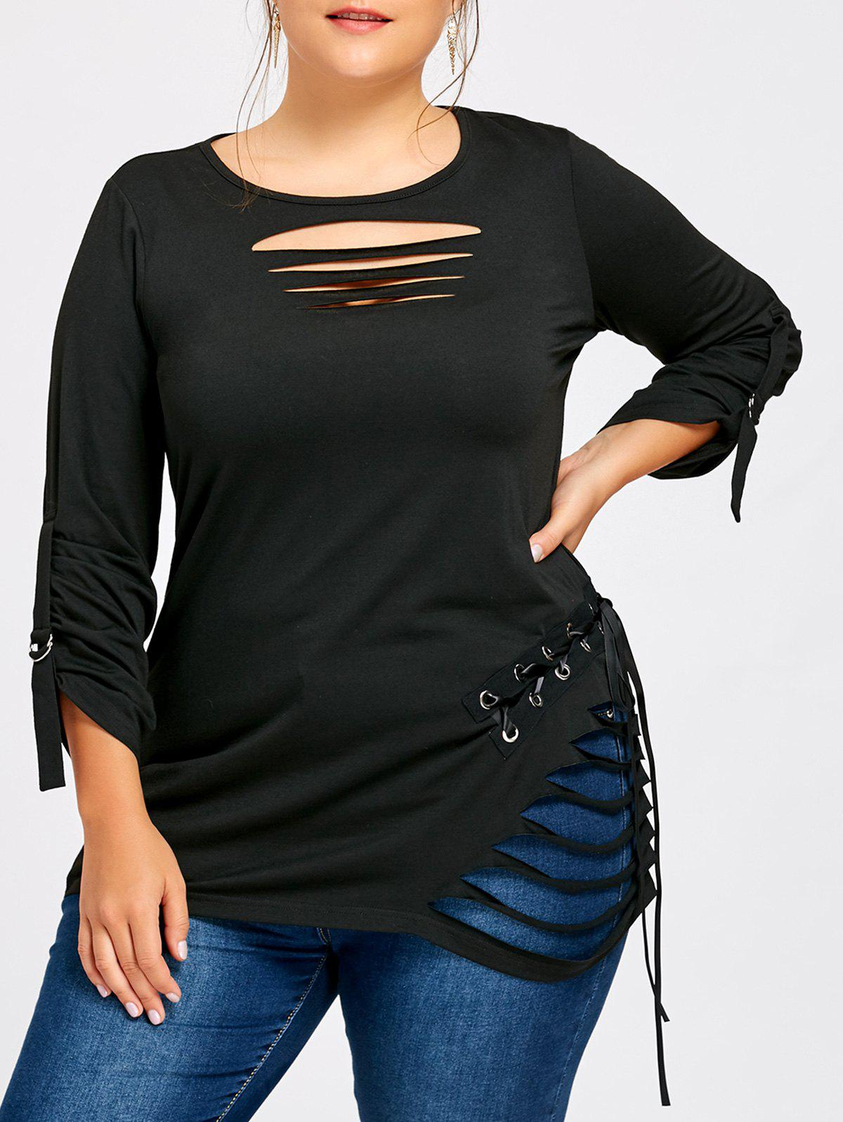 Plus Size Ripped Lace Up TopWOMEN<br><br>Size: 5XL; Color: BLACK; Material: Polyester,Spandex; Shirt Length: Long; Sleeve Length: Full; Collar: Round Neck; Style: Fashion; Season: Fall,Spring; Pattern Type: Solid; Weight: 0.3100kg; Package Contents: 1 x Top;