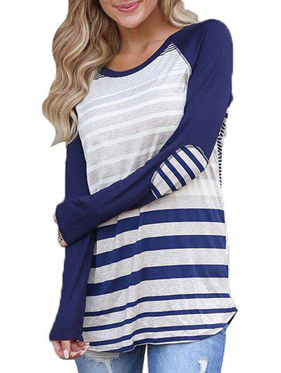 Outfit Raglan Sleeve Stripe T-shirt with Elbow Patches