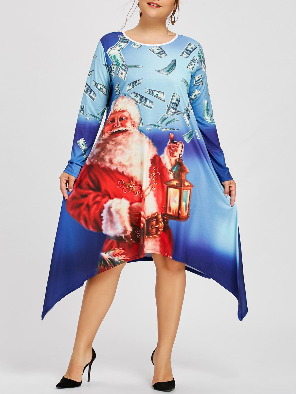 Christmas Plus Size Santa Claus Crescent Hem Tee DressWOMEN<br><br>Size: 3XL; Color: BLUE; Style: Casual; Material: Polyester,Spandex; Silhouette: A-Line; Dresses Length: Knee-Length; Neckline: Round Collar; Sleeve Length: Long Sleeves; Pattern Type: Character; With Belt: No; Season: Fall,Spring; Weight: 0.4200kg; Package Contents: 1 x Dress;