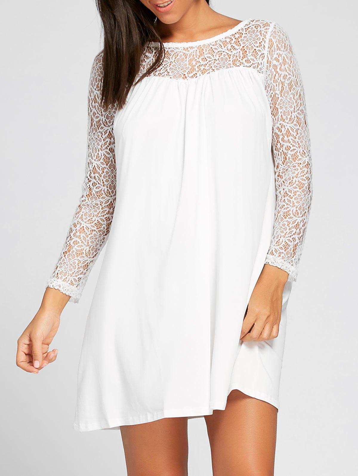 Outfits Long Sleeve Lace Insert Tunic Dress