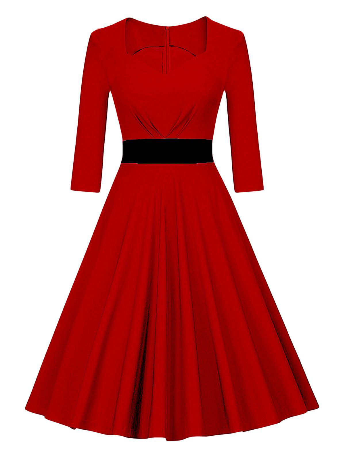 Vintage Color Block Pin Up Swing DressWOMEN<br><br>Size: XL; Color: RED; Style: Vintage; Material: Polyester,Spandex; Silhouette: A-Line; Dresses Length: Knee-Length; Neckline: Sweetheart Neck; Sleeve Length: 3/4 Length Sleeves; Pattern Type: Patchwork; With Belt: No; Season: Fall,Spring; Weight: 0.4000kg; Package Contents: 1 x Dress;