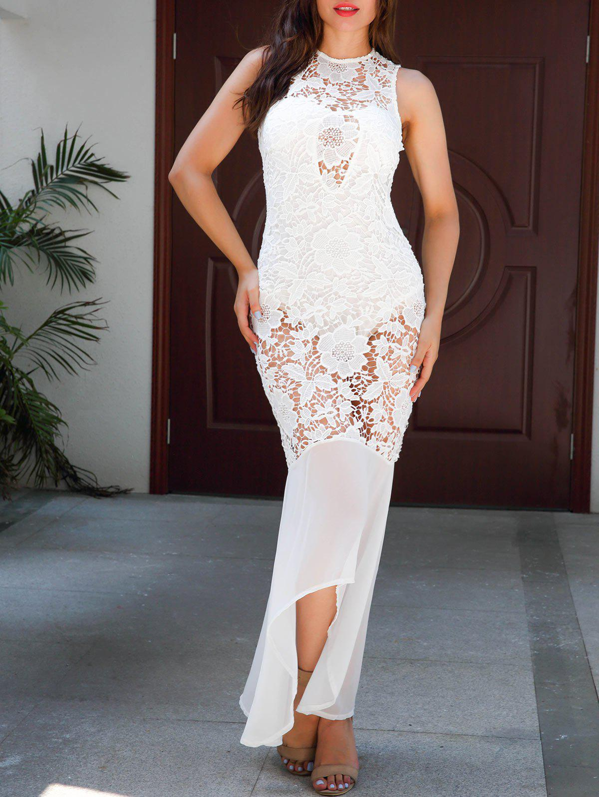 Shops Sheer Lace Sleeveless Bodycon Maxi Dress