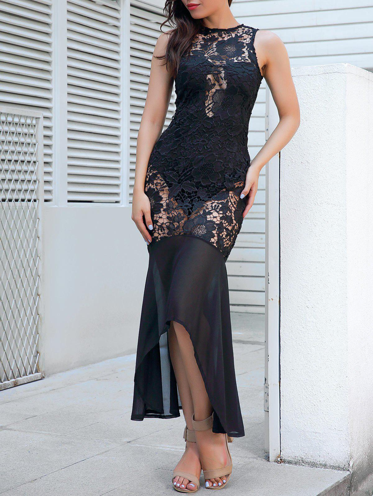 Affordable Sheer Lace Sleeveless Bodycon Maxi Dress