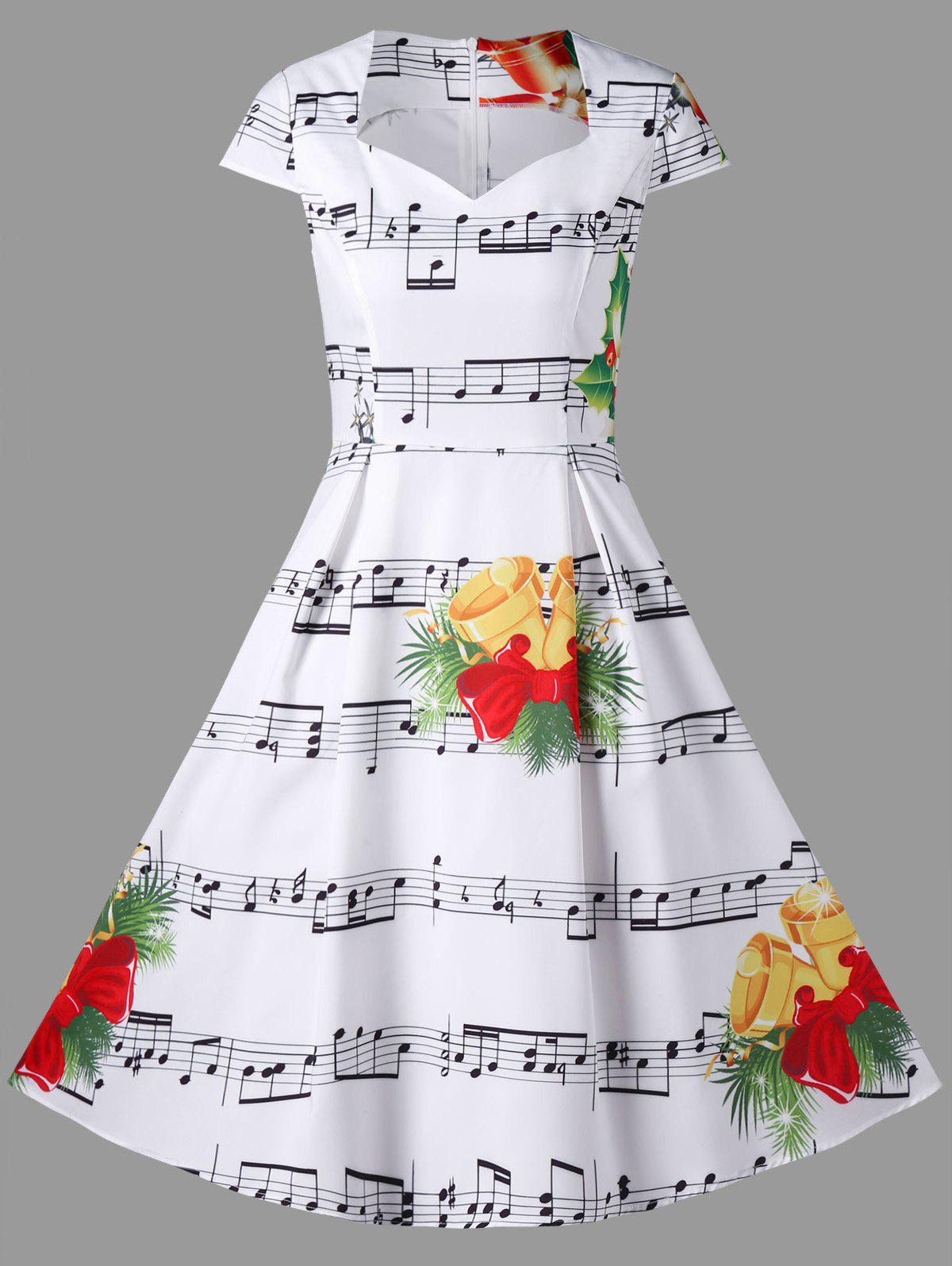 White 2xl Christmas Music Note And Bell Print Dress ...