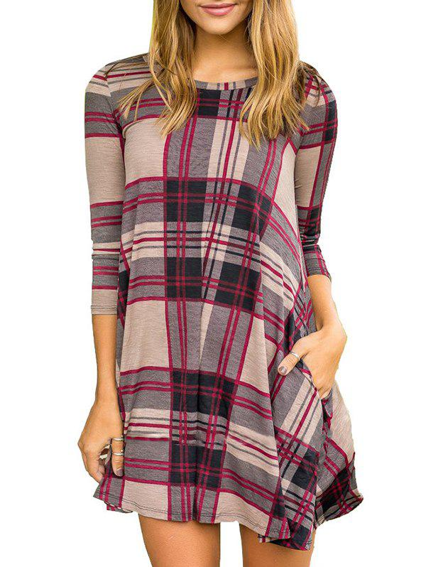 Outfit Plaid Pattern Round Neck Dress