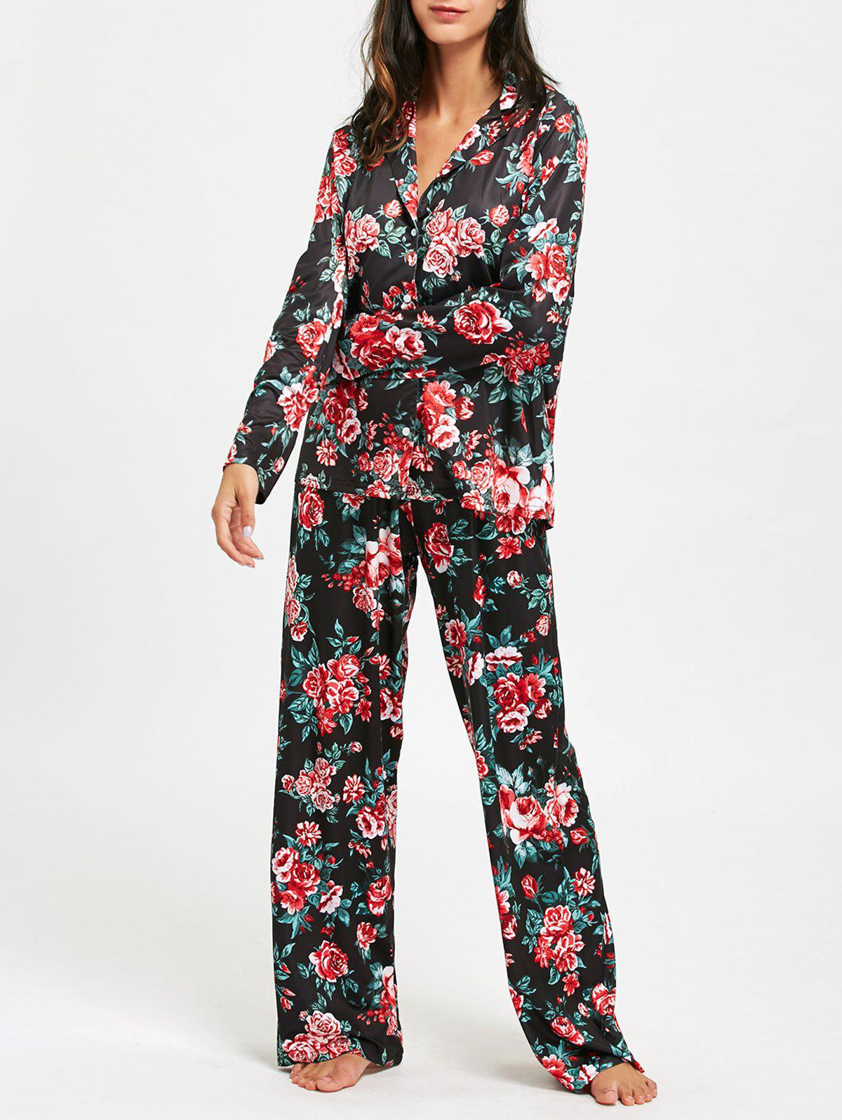 Floral Print Long Sleeve Pajama SetWOMEN<br><br>Size: L; Color: COLORMIX; Material: Polyester; Pattern Type: Floral; Weight: 0.5700kg; Package Contents: 1 x Pajama Set;