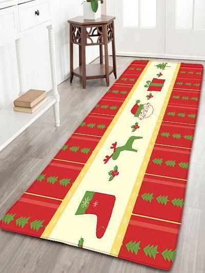 Christmas Elements Print Flannel Nonslip Bath RugHOME<br><br>Size: W24 INCH * L71 INCH; Color: RED; Products Type: Bath rugs; Materials: Flannel; Pattern: Elk,Gift,Santa Claus; Style: Festival; Shape: Rectangular; Package Contents: 1 x Rug;