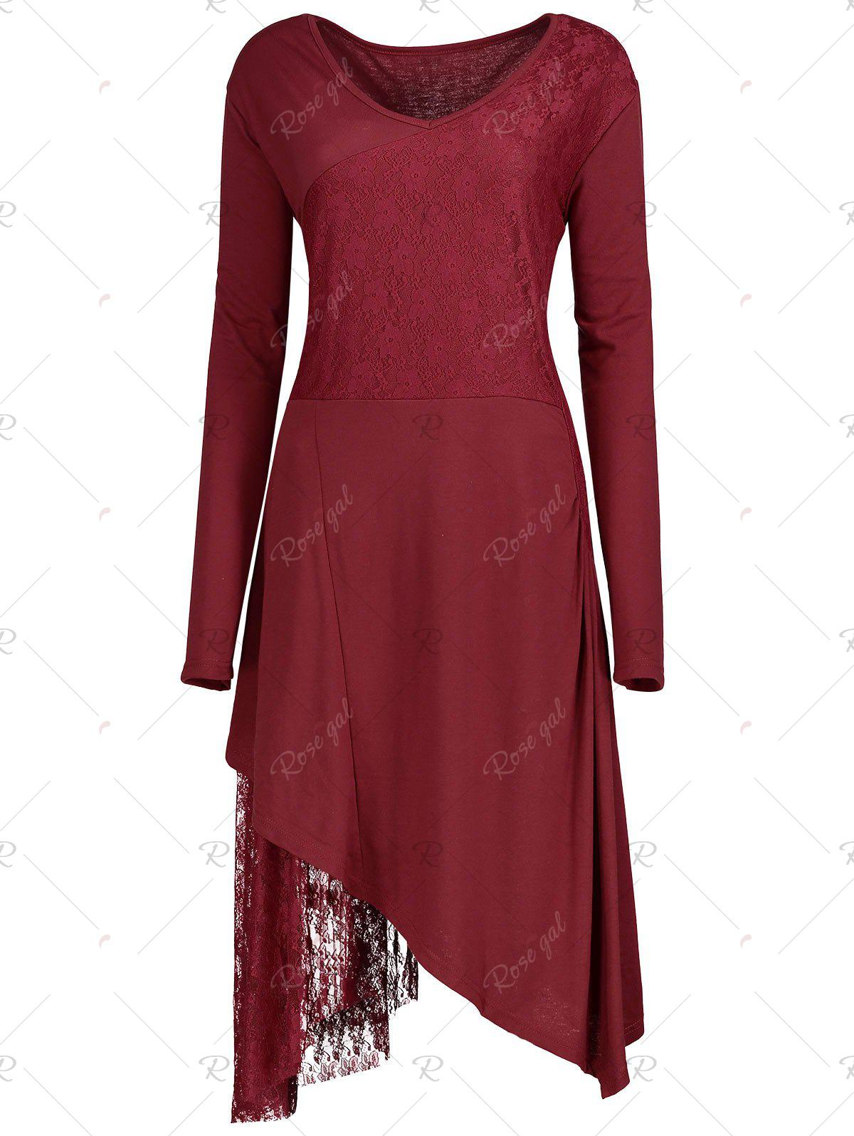 Christmas Party Plus Size Lace Trim V-neck DressWOMEN<br><br>Size: 2XL; Color: RED; Style: Cute; Material: Polyester,Spandex; Silhouette: Asymmetrical; Dresses Length: Knee-Length; Neckline: V-Neck; Sleeve Length: Long Sleeves; Embellishment: Lace; Pattern Type: Solid; With Belt: No; Season: Fall,Spring; Weight: 0.4800kg; Package Contents: 1 x Dress;