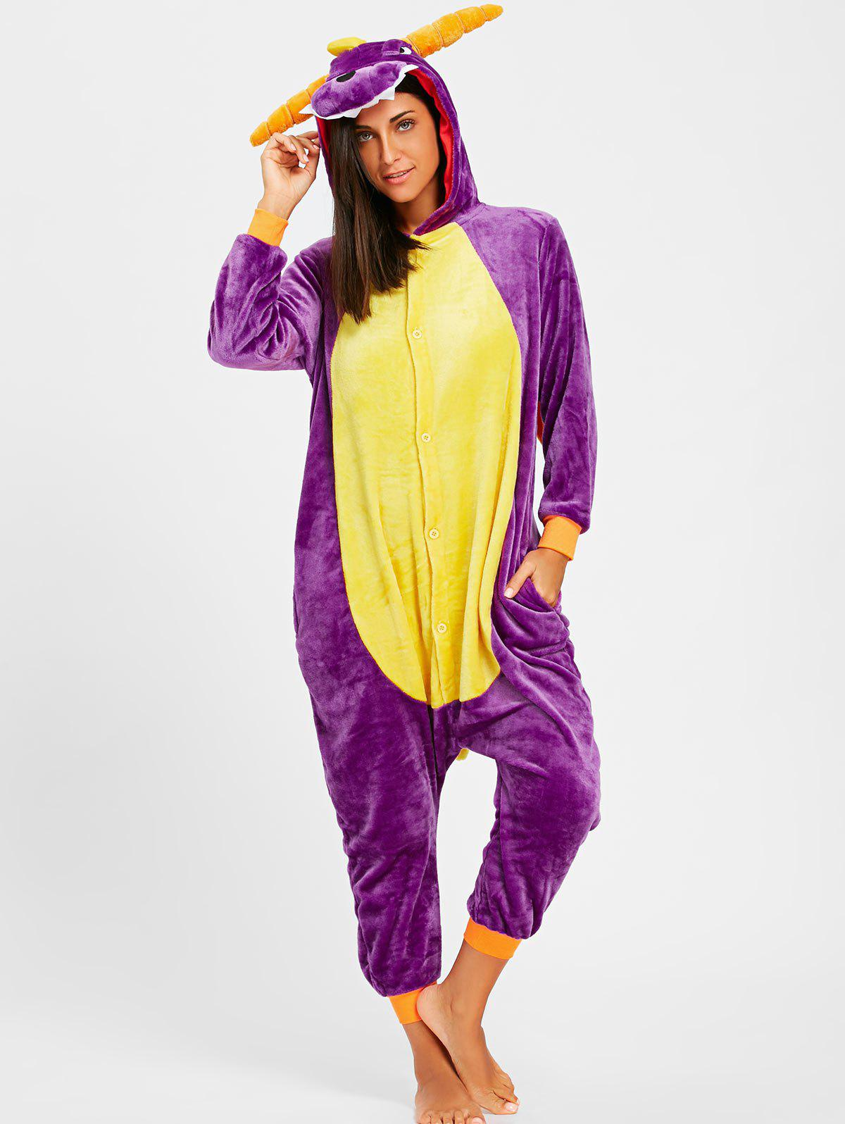 Fleece Dragon Animal Onesie Pajamas with HornWOMEN<br><br>Size: M; Color: PURPLE; Material: Polyester; Pattern Type: Animal; Weight: 0.4900kg; Package Contents: 1 x Pajama;