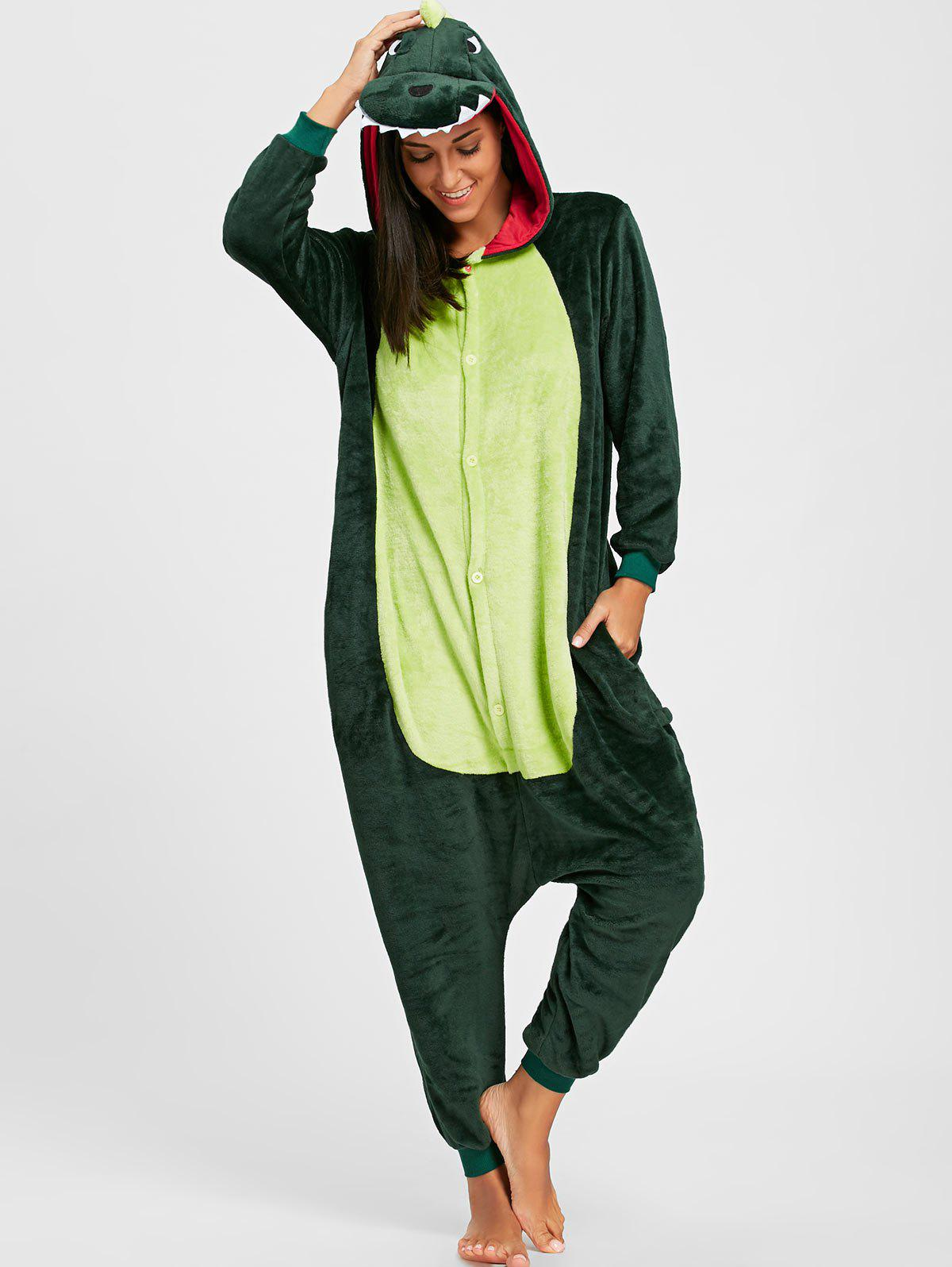 Cute Dinosaur Animal Onesie PajamaWOMEN<br><br>Size: S; Color: GREEN; Material: Polyester; Fabric Type: Fleece; Pattern Type: Animal; Weight: 0.5000kg; Package Contents: 1 x Pajama;