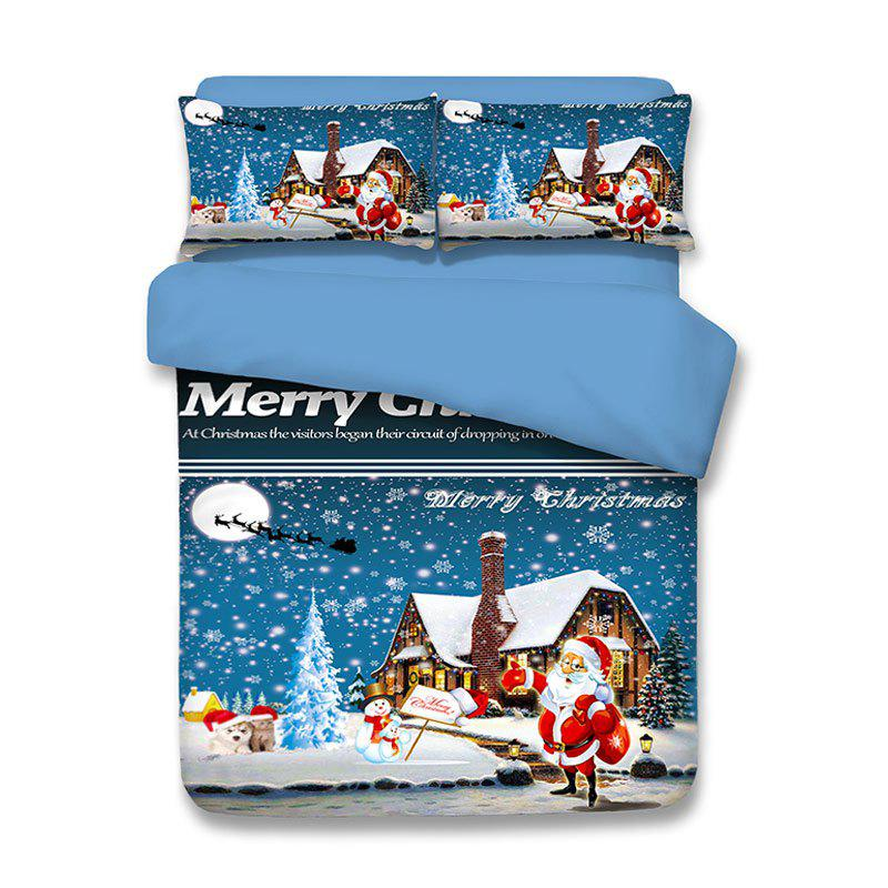 Unique Snowy Christmas Santa Print 3PCS Bedding Set