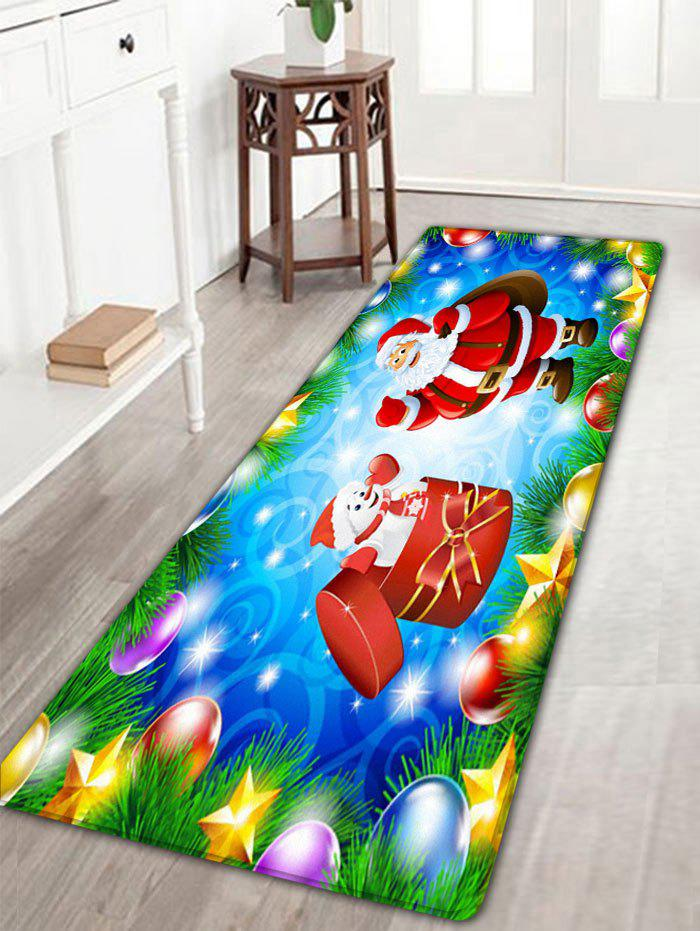 Christmas Snowman Santa Claus Print Skidproof Flannel Bath MatHOME<br><br>Size: W16 INCH * L47 INCH; Color: SKY BLUE; Products Type: Bath rugs; Materials: Flannel; Pattern: Santa Claus,Snowman; Style: Festival; Shape: Rectangular; Package Contents: 1 x Rug;
