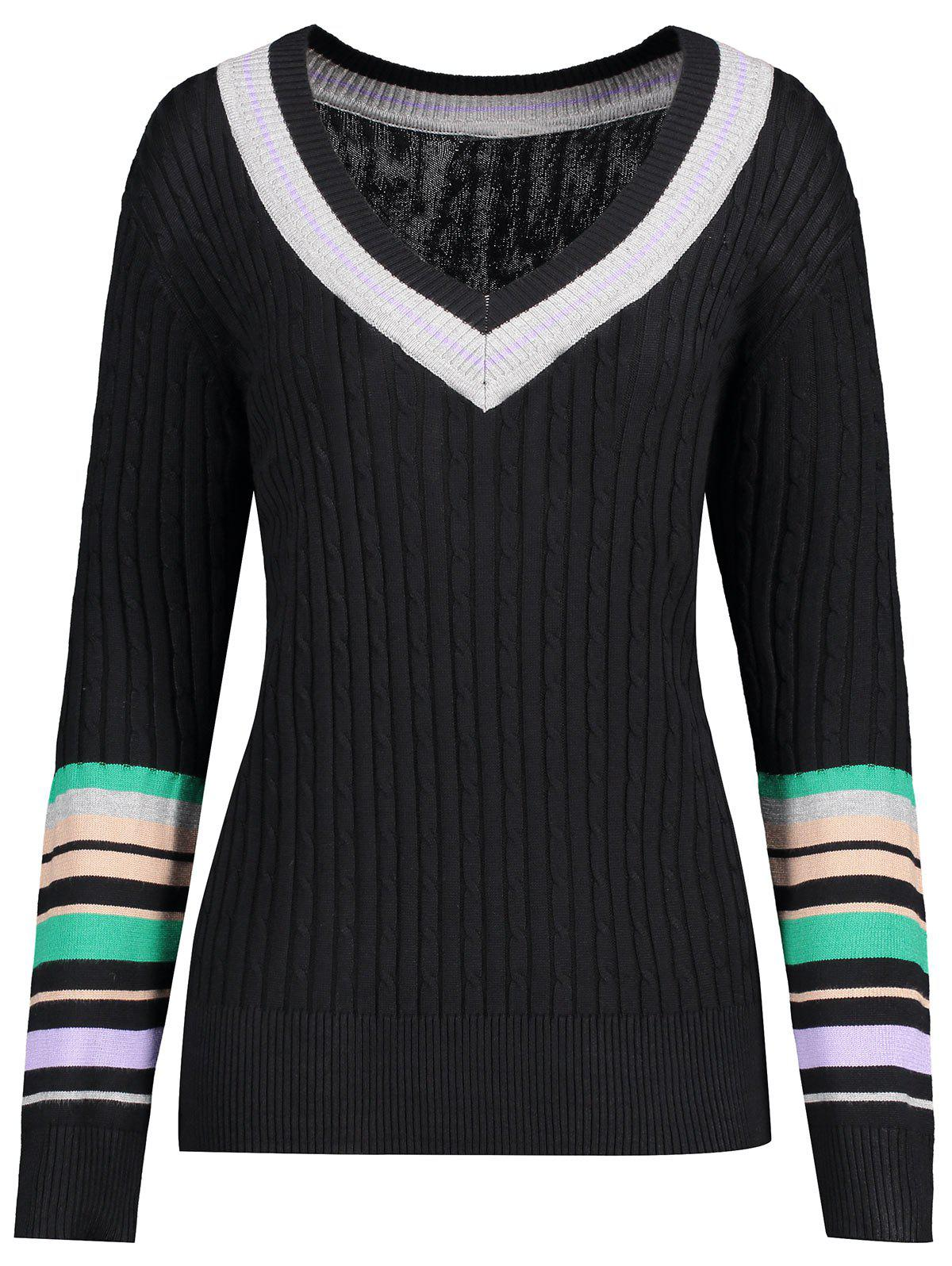 Plus Size V Neck Striped SweaterWOMEN<br><br>Size: 5XL; Color: BLACK; Type: Pullovers; Material: Acrylic; Sleeve Length: Full; Collar: V-Neck; Style: Casual; Season: Fall,Spring,Winter; Pattern Type: Striped; Weight: 0.4500kg; Package Contents: 1 x Sweater;