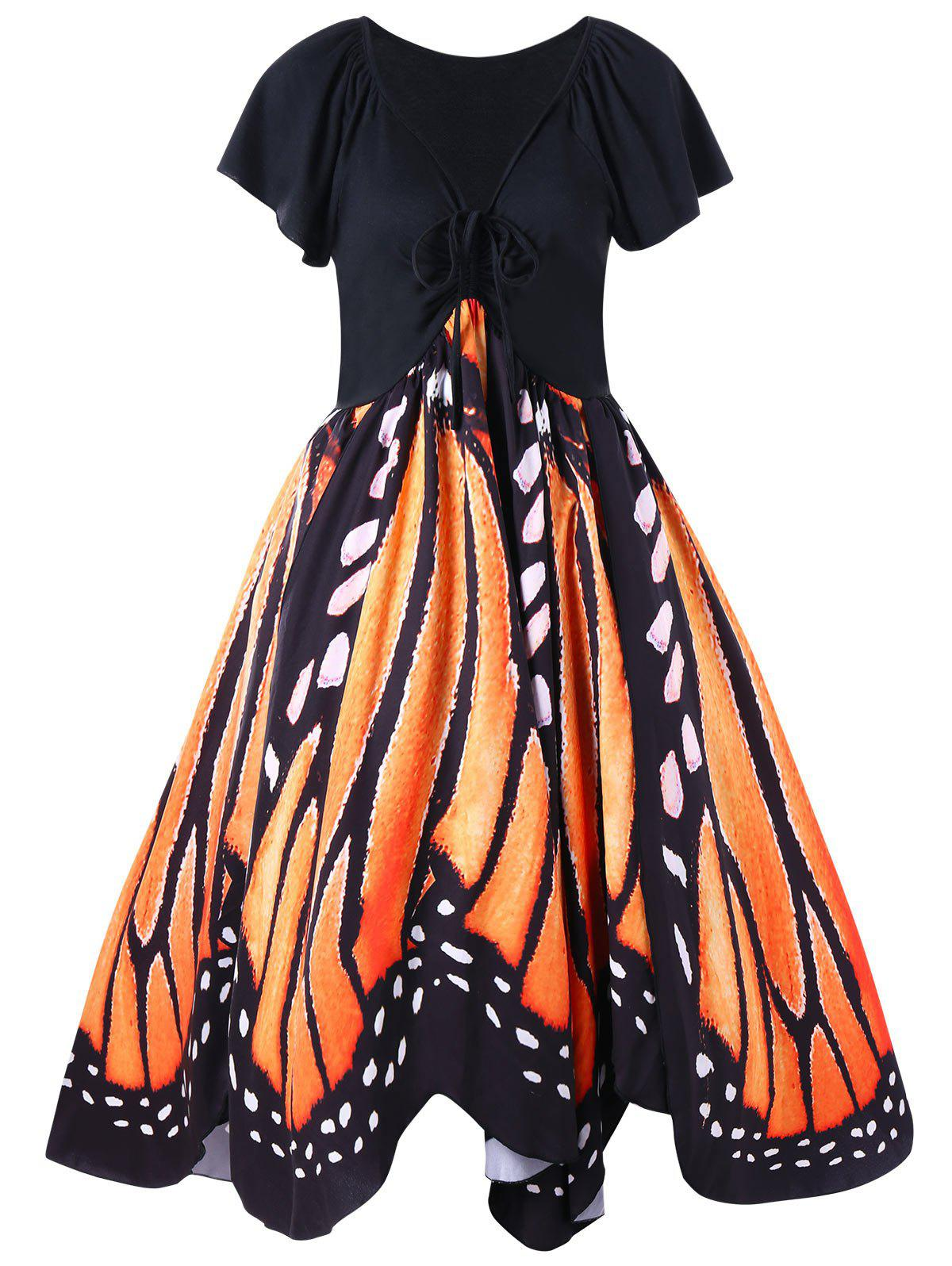 Plus Size Low Cut Butterfly Print Swing DressWOMEN<br><br>Size: XL; Color: ORANGE; Style: Vintage; Material: Polyester,Spandex; Silhouette: A-Line; Dresses Length: Knee-Length; Neckline: Plunging Neck; Sleeve Length: Short Sleeves; Pattern Type: Butterfly; With Belt: No; Season: Fall,Spring; Weight: 0.3700kg; Package Contents: 1 x Dress;