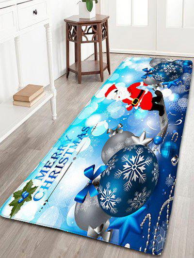 Christmas Balls Santa Claus Print Skidproof Flannel Bath RugHOME<br><br>Size: W24 INCH * L71 INCH; Color: BLUE; Products Type: Bath rugs; Materials: Flannel; Pattern: Ball,Santa Claus; Style: Festival; Shape: Rectangular; Package Contents: 1 x Rug;