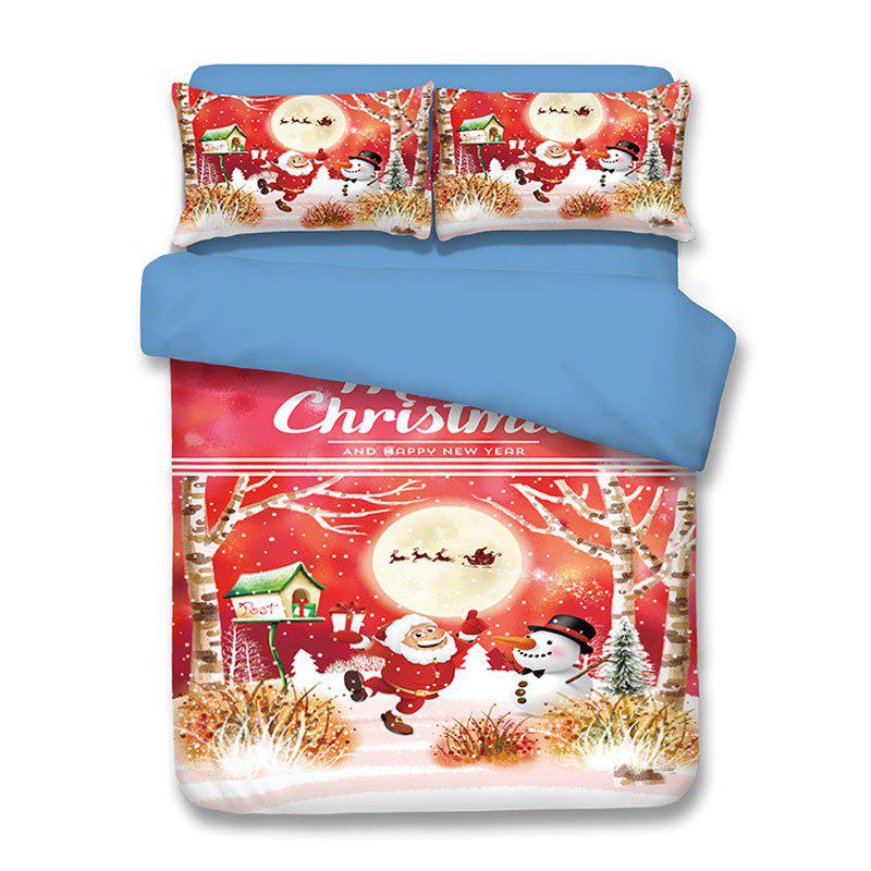 Christmas Santa Snowman Print 3PCS Bedding SetHOME<br><br>Size: KING; Color: COLORMIX; Bedding Sets Type: Duvet Cover Set(without Comforter); Material: Polyester; Patterns: Santa Claus; Weave Type: Plain; Crafts: Reactive Print; Set Quantity: 3pieces; Weight: 4.6800kg; Package Contents: 1 x Duvet Cover 2 x Pillowcases;