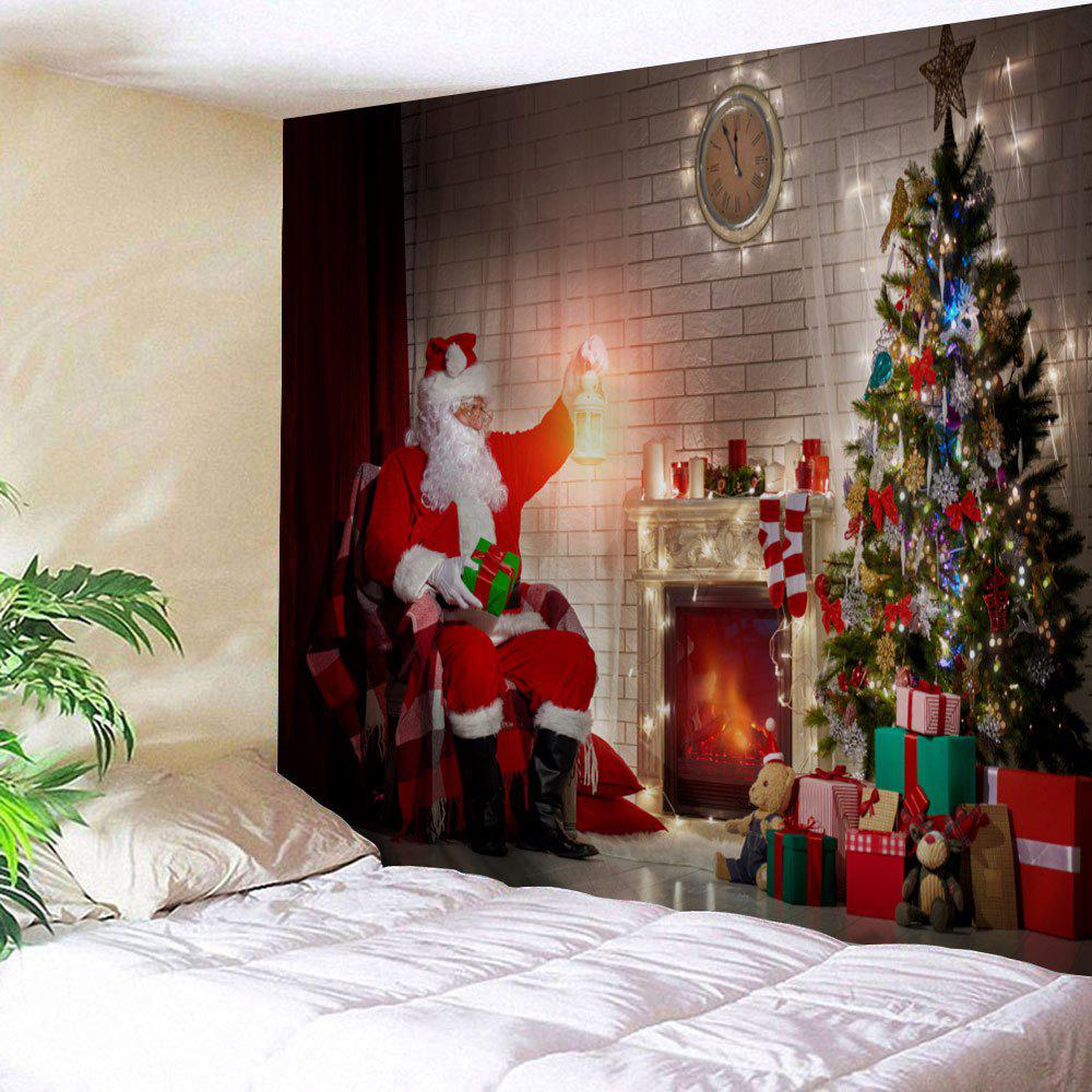 Wall Art Christmas Tree Fireplace Santa Claus Print TapestryHOME<br><br>Size: W79 INCH * L59 INCH; Color: COLORMIX; Style: Festival; Theme: Christmas; Material: Polyester; Feature: Removable,Washable; Shape/Pattern: Santa Claus,Tree; Weight: 0.2700kg; Package Contents: 1 x Tapestry;