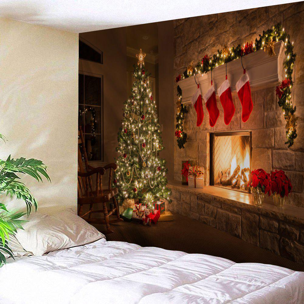 Wall Decor Christmas Fireplace Tree Pattern TapestryHOME<br><br>Size: W59 INCH * L51 INCH; Color: COLORMIX; Style: Festival; Theme: Christmas; Material: Polyester; Feature: Removable,Washable; Shape/Pattern: Tree; Weight: 0.1800kg; Package Contents: 1 x Tapestry;