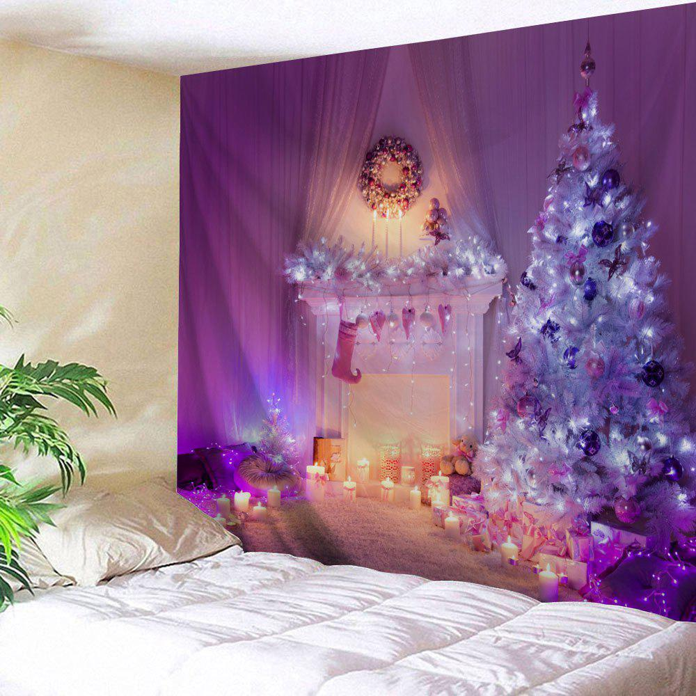 Wall Hanging Christmas Fireplace Tree Printed TapestryHOME<br><br>Size: W79 INCH * L71 INCH; Color: PURPLE; Style: Festival; Theme: Christmas; Material: Polyester; Feature: Removable,Washable; Shape/Pattern: Tree; Weight: 0.3000kg; Package Contents: 1 x Tapestry;