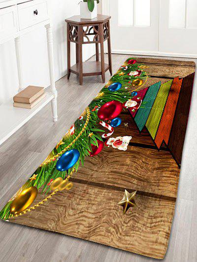 Wood Grain Christmas Tree Print Skidproof Flannel Bath MatHOME<br><br>Size: W24 INCH * L71 INCH; Color: WOOD COLOR; Products Type: Bath rugs; Materials: Flannel; Pattern: Ball,Christmas Tree,Wood Grain; Style: Festival; Shape: Rectangular; Package Contents: 1 x Rug;