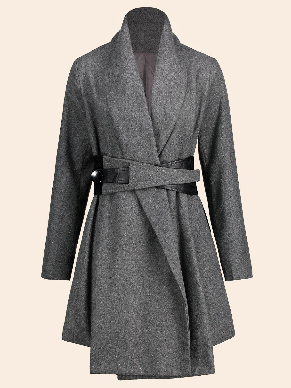 Asymmetrical Plus Size Belted Skirted CoatWOMEN<br><br>Size: 2XL; Color: DEEP GRAY; Clothes Type: Wool &amp; Blends; Material: Acrylic,Polyester; Type: Wide-waisted; Shirt Length: Regular; Sleeve Length: Full; Collar: Turn-down Collar; Pattern Type: Solid; Style: Fashion; Season: Fall,Spring,Winter; With Belt: Yes; Weight: 1.2500kg; Package Contents: 1 x Coat  1 x Belt;