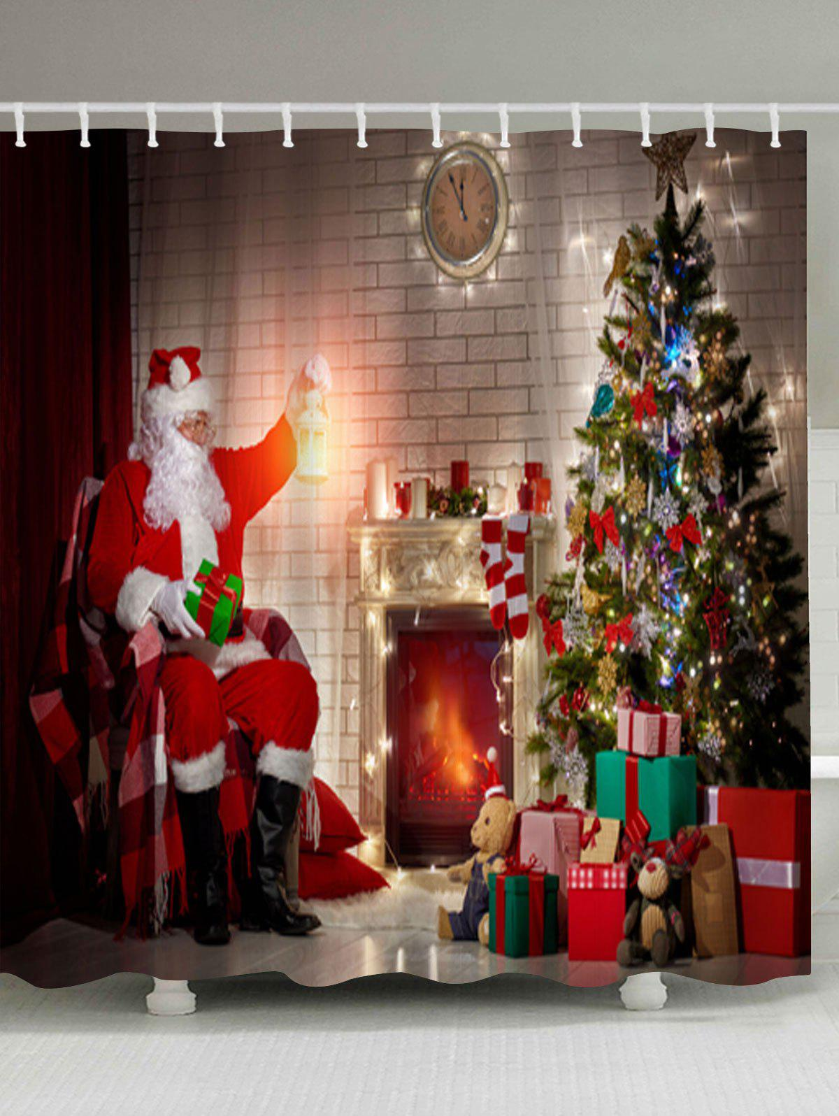 Christmas Tree Fireplace Santa Claus Waterproof Bath CurtainHOME<br><br>Size: W71 INCH * L71 INCH; Color: COLORMIX; Products Type: Shower Curtains; Materials: Polyester; Pattern: Christmas Tree,Santa Claus; Style: Festival; Number of Hook Holes: W59 inch*L71 inch: 10; W71 inch*L71 inch: 12; W71 inch*L79 inch: 12; Package Contents: 1 x Shower Curtain 1 x Hooks (Set);
