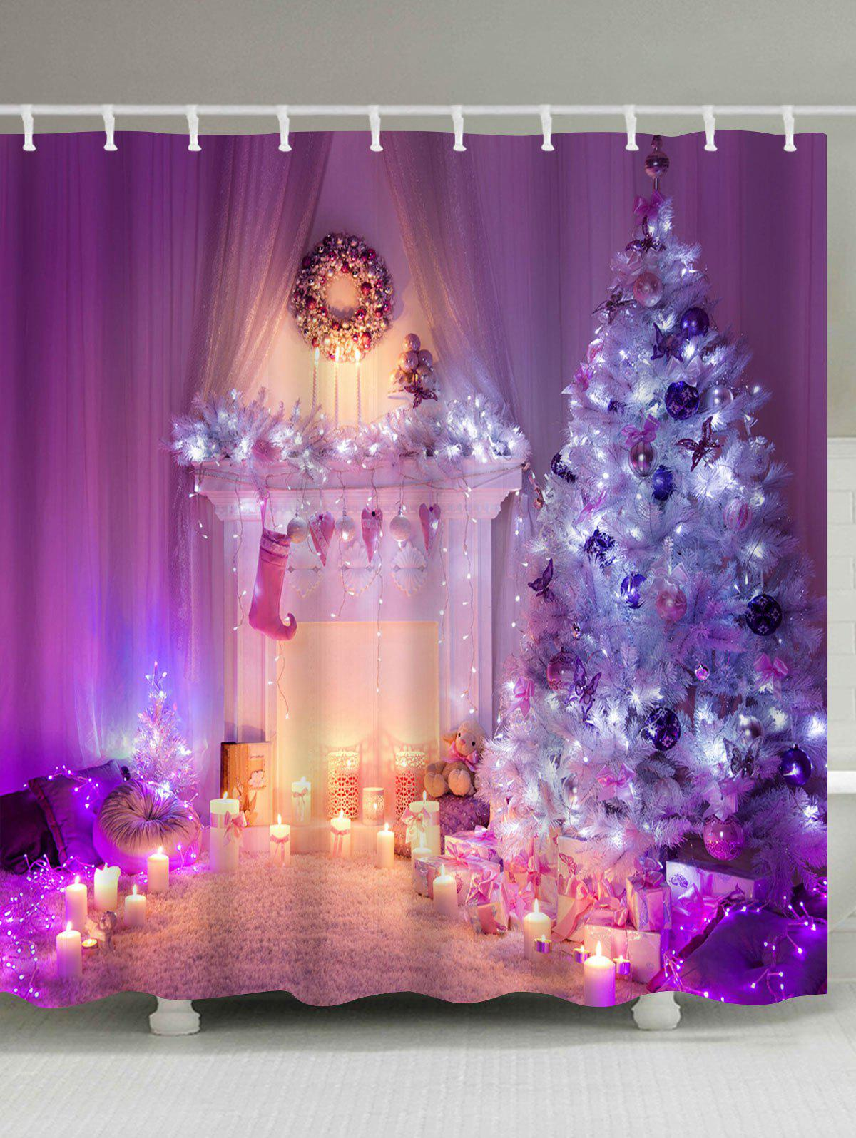 Christmas Tree Fireplace Print Waterproof Shower CurtainHOME<br><br>Size: W59 INCH * L71 INCH; Color: PURPLE; Products Type: Shower Curtains; Materials: Polyester; Pattern: Christmas Tree; Style: Festival; Number of Hook Holes: W59 inch*L71 inch: 10; W71 inch*L71 inch: 12; W71 inch*L79 inch: 12; Package Contents: 1 x Shower Curtain 1 x Hooks (Set);