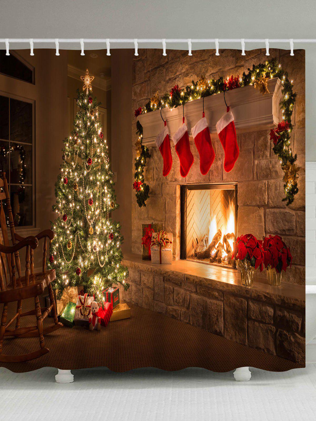 Christmas Fireplace Tree Printed Waterproof Shower CurtainHOME<br><br>Size: W71 INCH * L71 INCH; Color: BROWN; Products Type: Shower Curtains; Materials: Polyester; Pattern: Christmas Tree; Style: Festival; Number of Hook Holes: W59 inch*L71 inch: 10; W71 inch*L71 inch: 12; W71 inch*L79 inch: 12; Package Contents: 1 x Shower Curtain 1 x Hooks (Set);