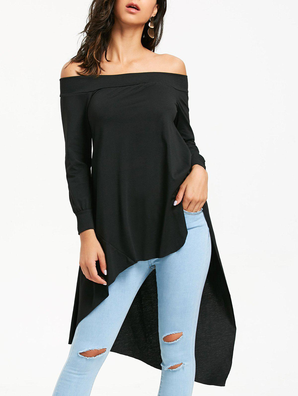 Off Shoulder Long Sleeve High Low T-shirtWOMEN<br><br>Size: XL; Color: BLACK; Material: Polyester; Shirt Length: Regular; Sleeve Length: Full; Collar: Off The Shoulder; Style: Fashion; Pattern Type: Solid Color; Season: Fall,Spring,Winter; Weight: 0.3200kg; Package Contents: 1 x T-shirt;