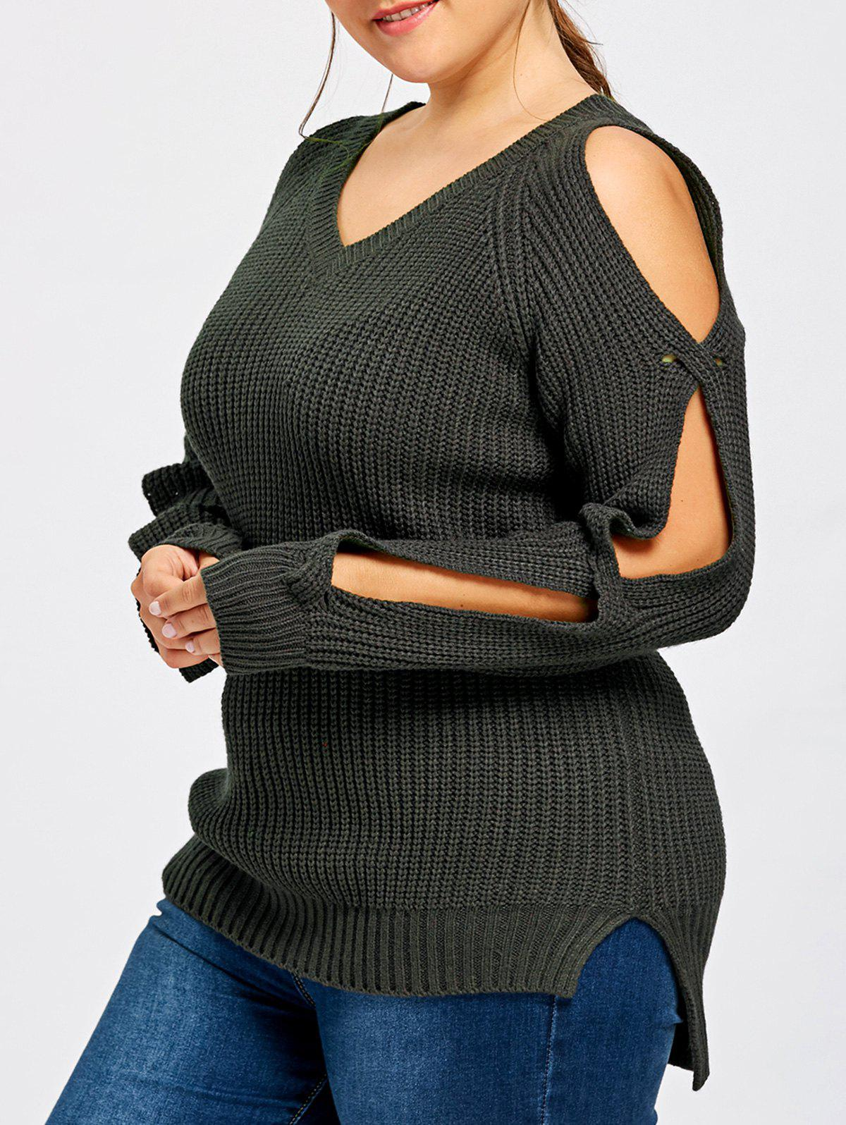 Plus Size Split Sleeve V Neck SweaterWOMEN<br><br>Size: 3XL; Color: BLACK; Type: Pullovers; Material: Polyester,Spandex; Sleeve Length: Full; Collar: V-Neck; Style: Casual; Season: Fall,Spring,Winter; Pattern Type: Solid; Weight: 0.4500kg; Package Contents: 1 x Sweater;