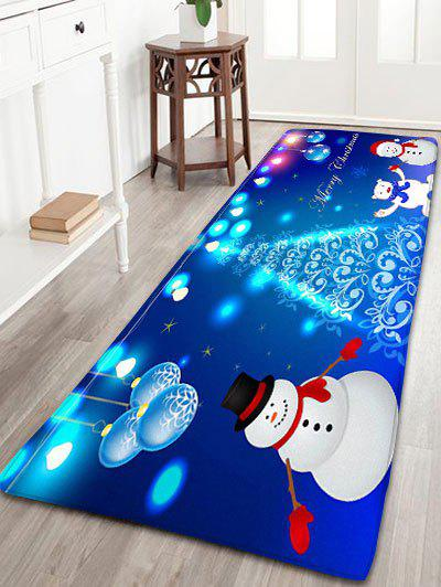 Christmas Snowman Print Flannel Skidproof Bath RugHOME<br><br>Size: W24 INCH * L71 INCH; Color: BLUE; Products Type: Bath rugs; Materials: Flannel; Pattern: Ball,Snowman; Style: Festival; Shape: Rectangular; Package Contents: 1 x Rug;