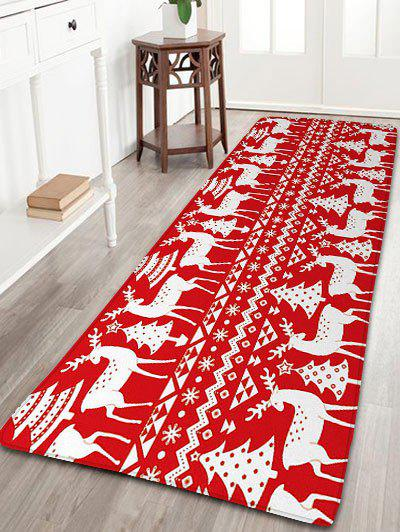 Christmas Tree Deer Print Nonslip Flannel Bath MatHOME<br><br>Size: W24 INCH * L71 INCH; Color: RED; Products Type: Bath rugs; Materials: Flannel; Pattern: Animal,Christmas Tree; Style: Festival; Shape: Rectangular; Package Contents: 1 x Rug;