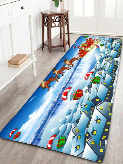 Christmas Sled Printed Flannel Nonslip Bath MatHOME<br><br>Size: W24 INCH * L71 INCH; Color: CLOUDY; Products Type: Bath rugs; Materials: Flannel; Style: Festival; Shape: Rectangular; Package Contents: 1 x Rug;