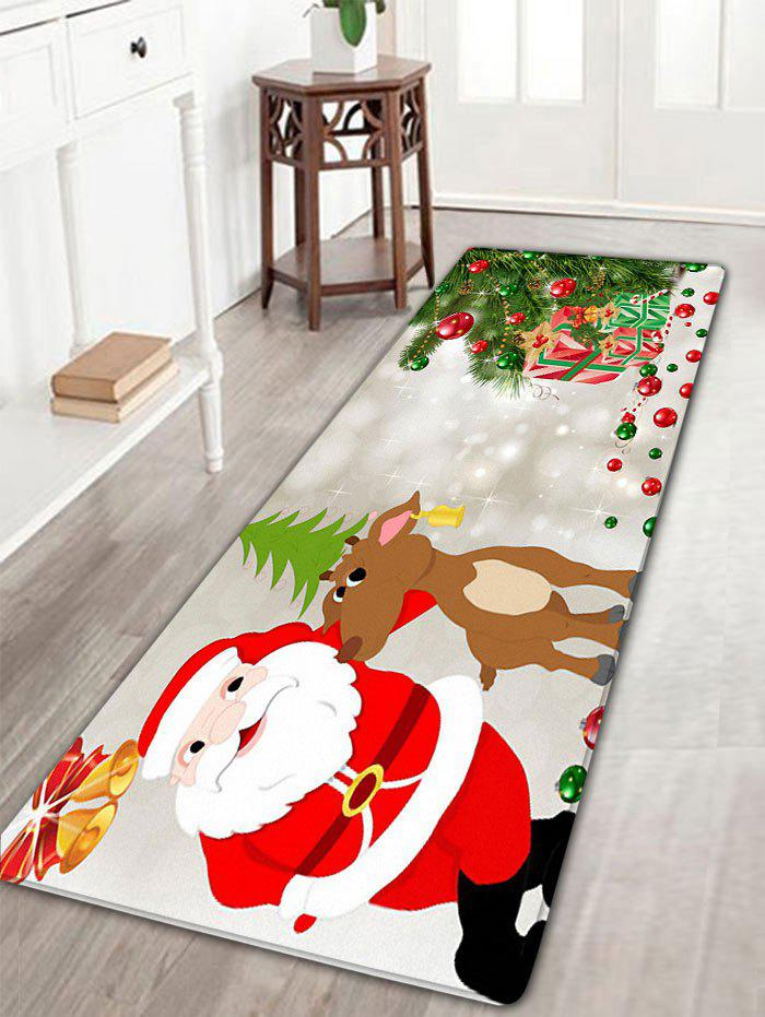 Christmas Deer Santa Claus Print Skidproof Flannel Bath RugHOME<br><br>Size: W16 INCH * L47 INCH; Color: LIGHT GRAY; Products Type: Bath rugs; Materials: Flannel; Pattern: Elk,Santa Claus; Style: Festival; Shape: Rectangular; Package Contents: 1 x Rug;