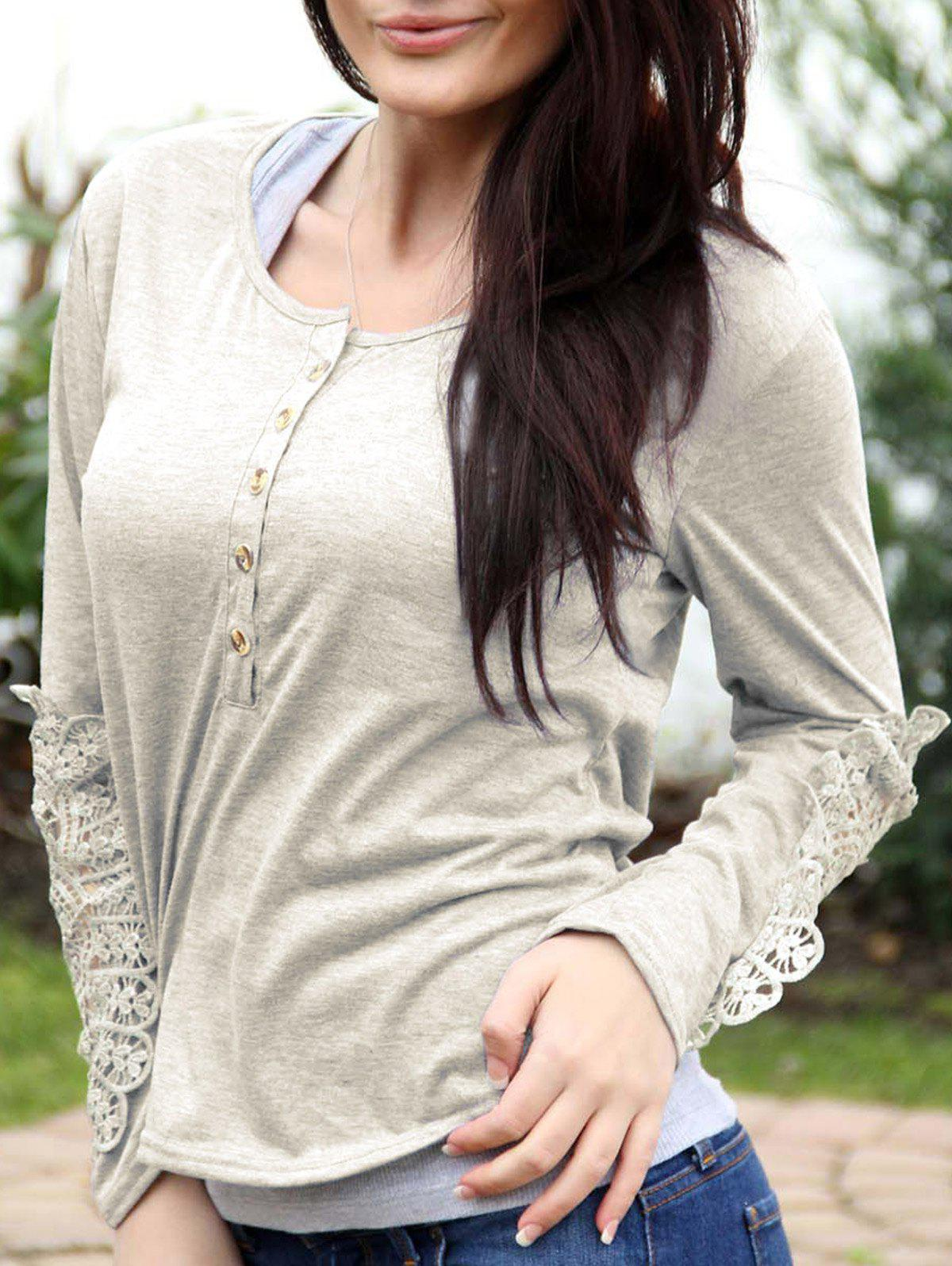 Latest Casual Scoop Neck Lace Splicing Long Sleeve T-Shirt For Women