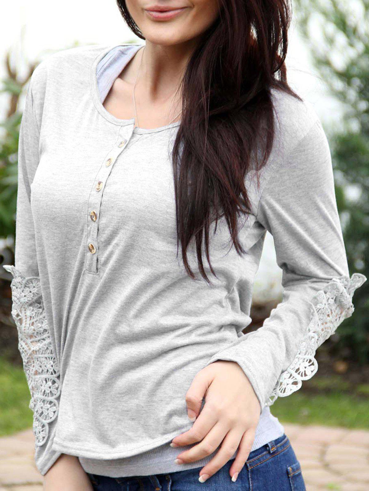 Hot Casual Scoop Neck Lace Splicing Long Sleeve T-Shirt For Women