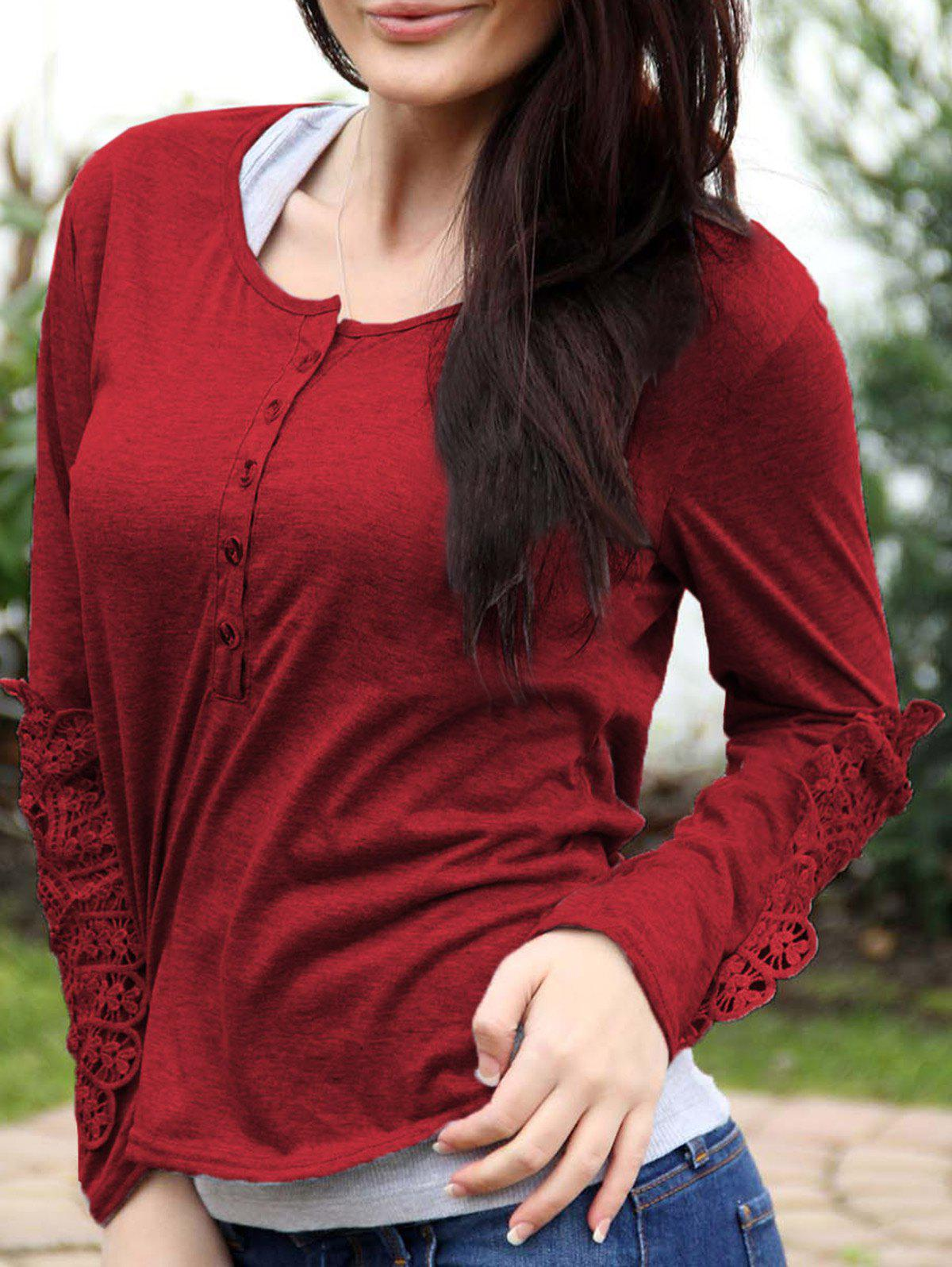 Casual Scoop Neck Lace Splicing Long Sleeve T-Shirt For WomenWOMEN<br><br>Size: M; Color: WINE RED; Material: Cotton Blends; Sleeve Length: Full; Collar: Scoop Neck; Style: Casual; Pattern Type: Solid; Weight: 0.1800kg; Package Contents: 1 x T-Shirt;