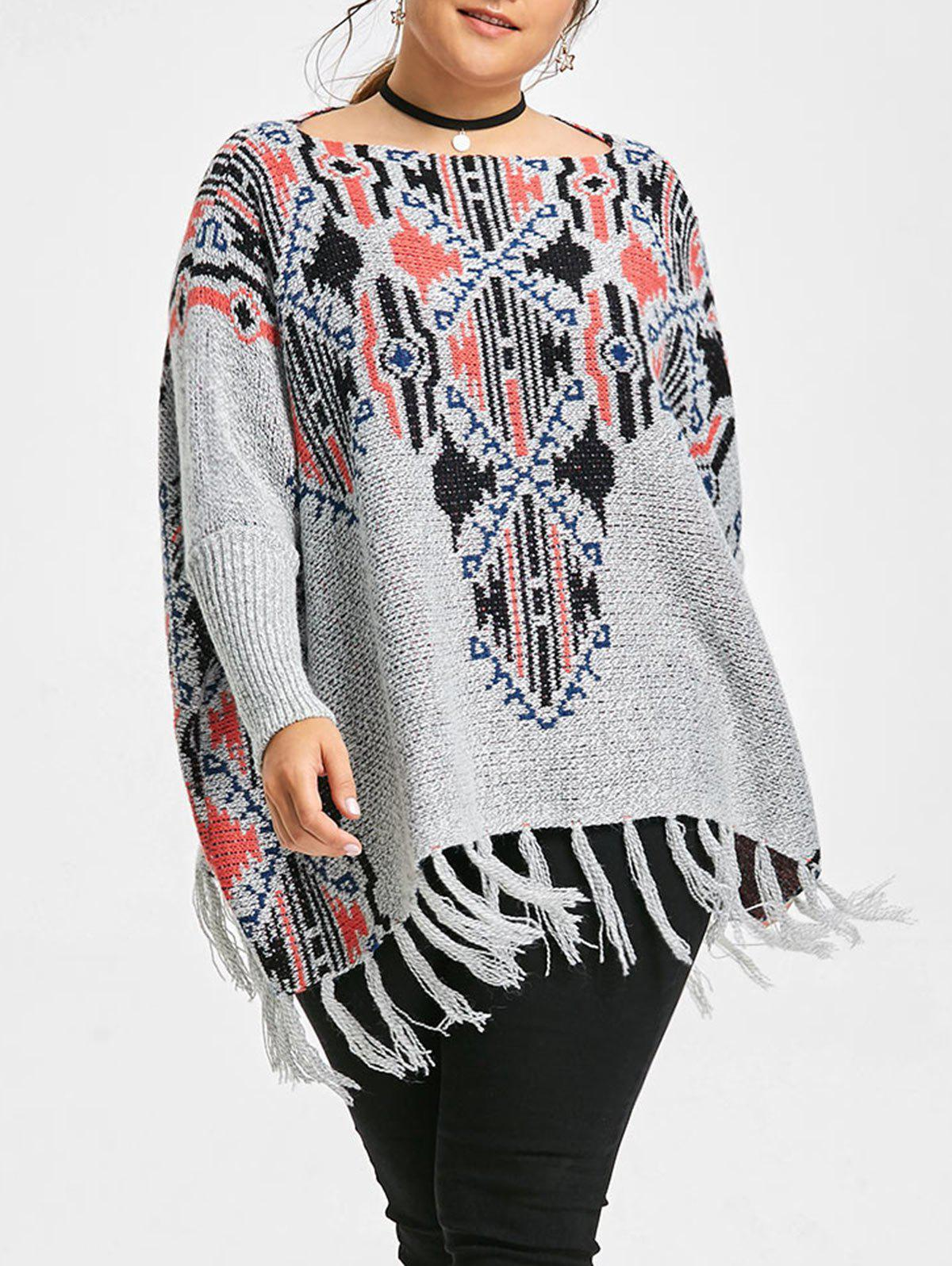 Knit Geometric Print Plus Size Fringe SweaterWOMEN<br><br>Size: ONE SIZE; Color: GRAY; Type: Pullovers; Material: Polyester,Spandex; Sleeve Length: Full; Collar: Boat Neck; Style: Fashion; Season: Fall,Winter; Pattern Type: Geometric; Weight: 0.6150kg; Package Contents: 1 x Sweater;