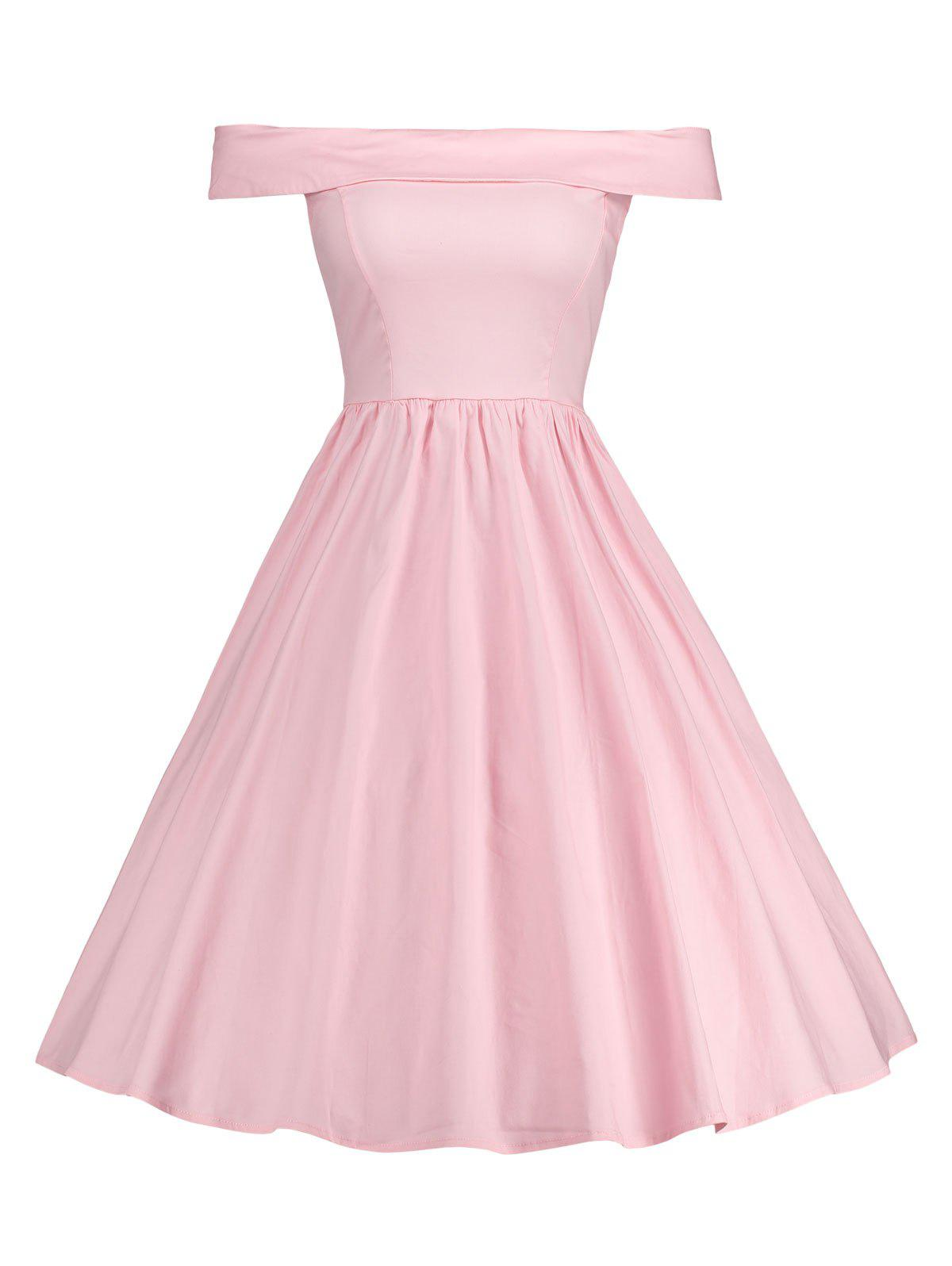 Off Shoulder A Line Vintage DressWOMEN<br><br>Size: S; Color: PINK; Style: Vintage; Material: Polyester,Spandex; Silhouette: A-Line; Dresses Length: Knee-Length; Neckline: Off The Shoulder; Sleeve Length: Short Sleeves; Pattern Type: Solid; With Belt: No; Season: Fall,Spring; Weight: 0.4200kg; Package Contents: 1 x Dress;