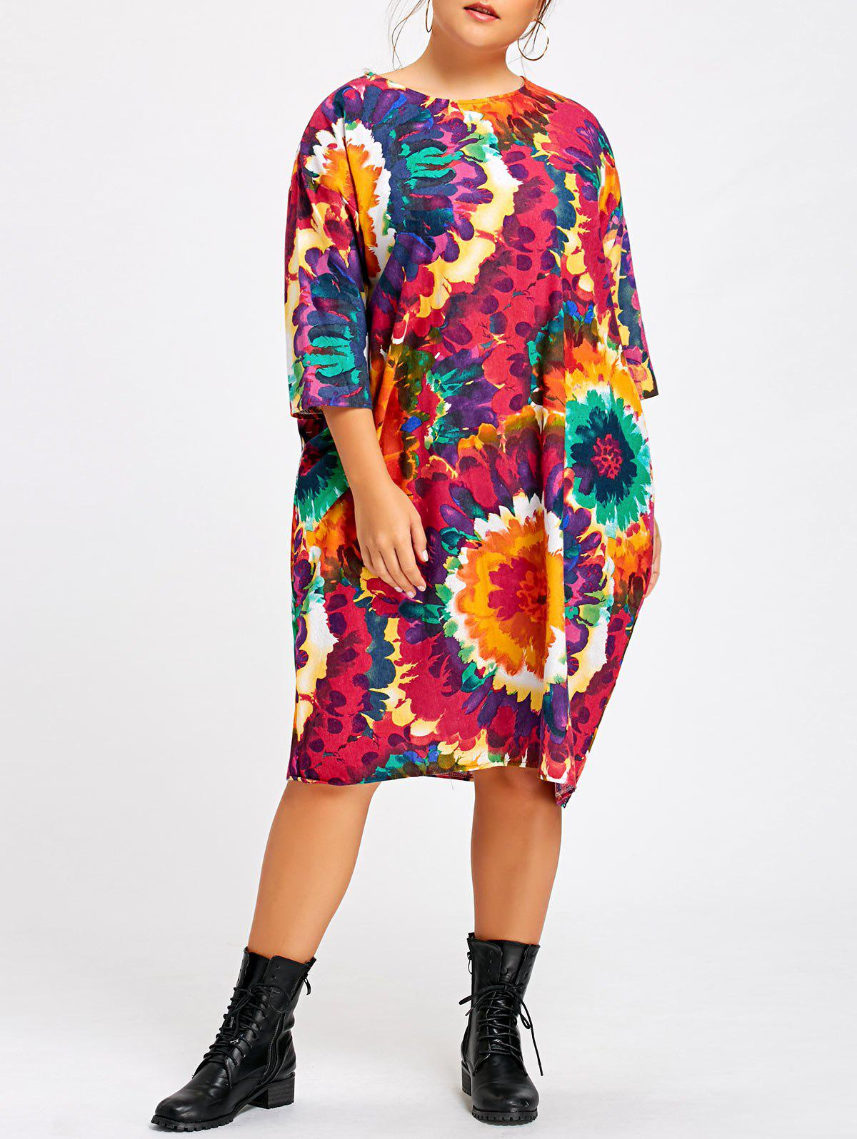 Plus Size Tie Dye Rainbow Tunic Dress with SleevesWOMEN<br><br>Size: ONE SIZE; Color: MULTICOLOR; Style: Casual; Material: Cotton Blend,Polyester; Silhouette: Straight; Dresses Length: Mid-Calf; Neckline: Round Collar; Sleeve Length: 3/4 Length Sleeves; Embellishment: Pockets; Pattern Type: Print; With Belt: No; Season: Fall,Winter; Weight: 0.3600kg; Package Contents: 1 x Dress;