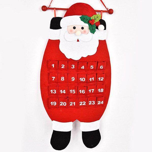 Christmas Santa Snowman Deer Advent Calendar Hanging DecorationHOME<br><br>Color: RED; Event &amp; Party Item Type: Party Decoration; Occasion: Christmas; Material: Non-woven; Weight: 0.4760kg; Package Contents: 1 x Advent Calendar;